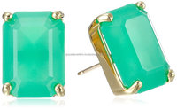 Aqua Chalcedony Beautiful Gemstone Stud Earrings Vermeil Gold