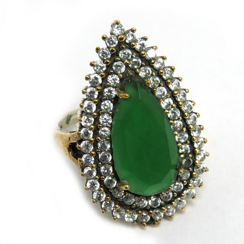 Victorian Design of Green Onyx, White CZ 925 Sterling Silver Jewelry Ring With Brass, Turkish Silver Jewelry Gemstone Jewelry