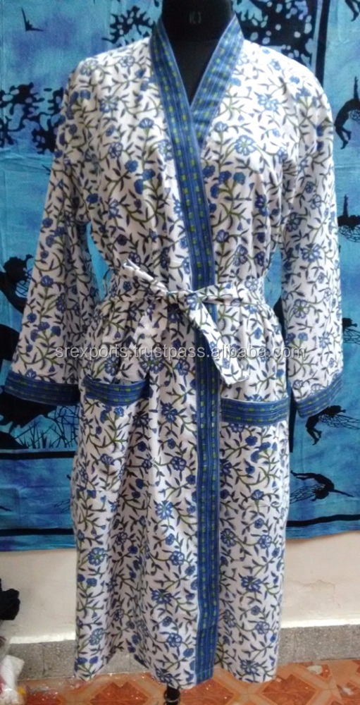 Block printed Cotton Kimono Women Robe wholesaler