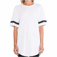 Fashion sexy 100% cotton elongated women t-shirts wholesale
