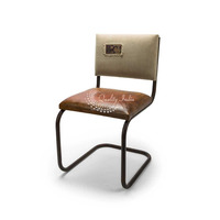 Iron Leather and Canvas Brown and White Color Dining Chair