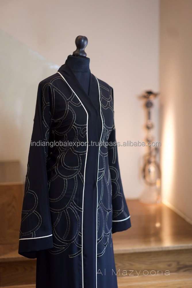 Black Embroidered Party Wedding Bisht Abaya Dubai Arabic Jalabiya