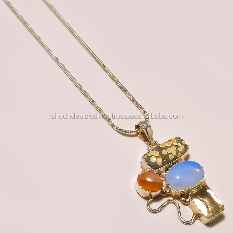 FASHION GEMSTONE PENDANT with GERMAN SILVER CHAIN