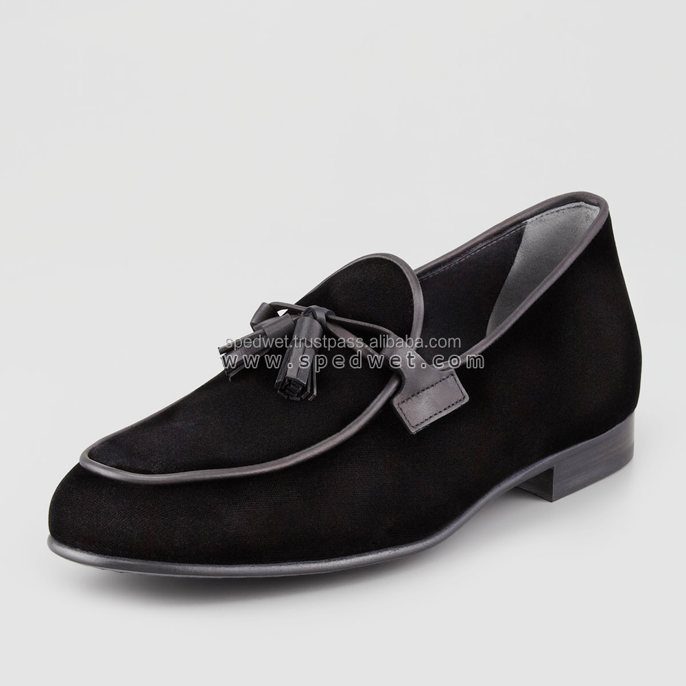 Handmade black velvet moccasins shoe loafers for men velvet shoes