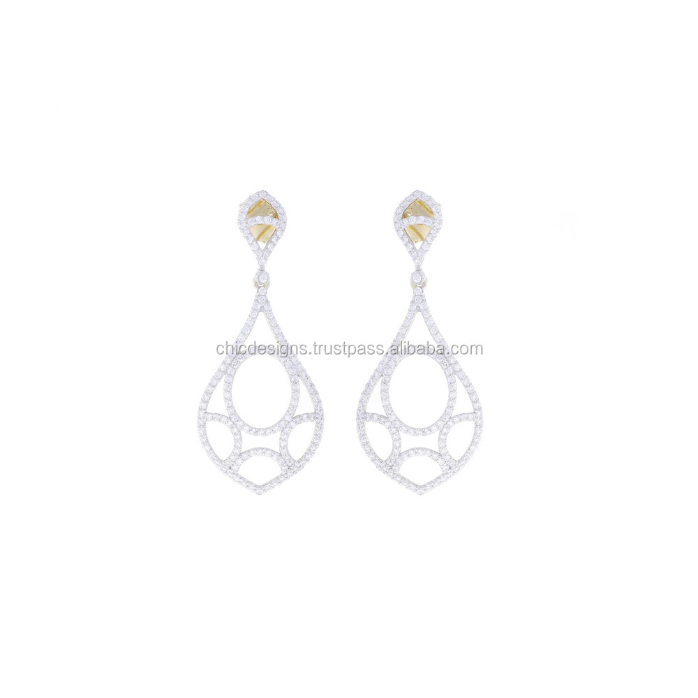 CZ 14K Yellow Gold Drop Design Women Fashion Earrings From Chic Designs Jaipur India