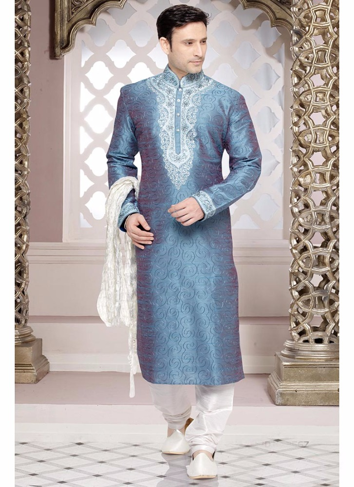 Blue brocade kurta