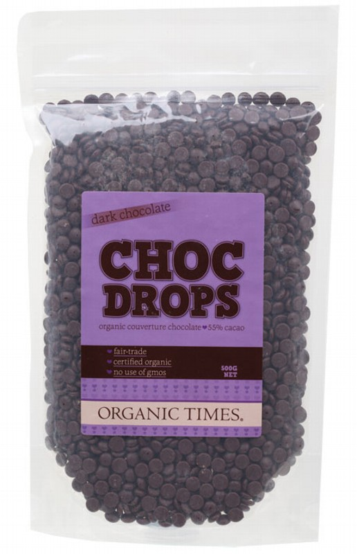 ORGANIC TIMES Choc Drops Dark Chocolate Couvertre Drops 500g