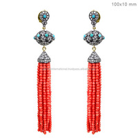 Diamond Gemstone Jewelry, Turquoise and Coral Beads Tassel Earrings