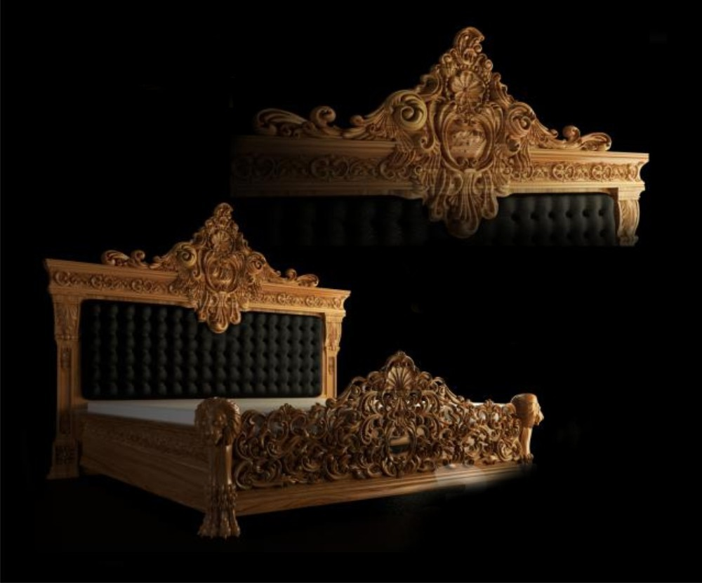 3d high quality luxurious antique wooden bed with Italian lacquer