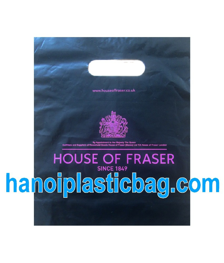 "PRINTING""house of fraser"" PE bag with Kidney handles"
