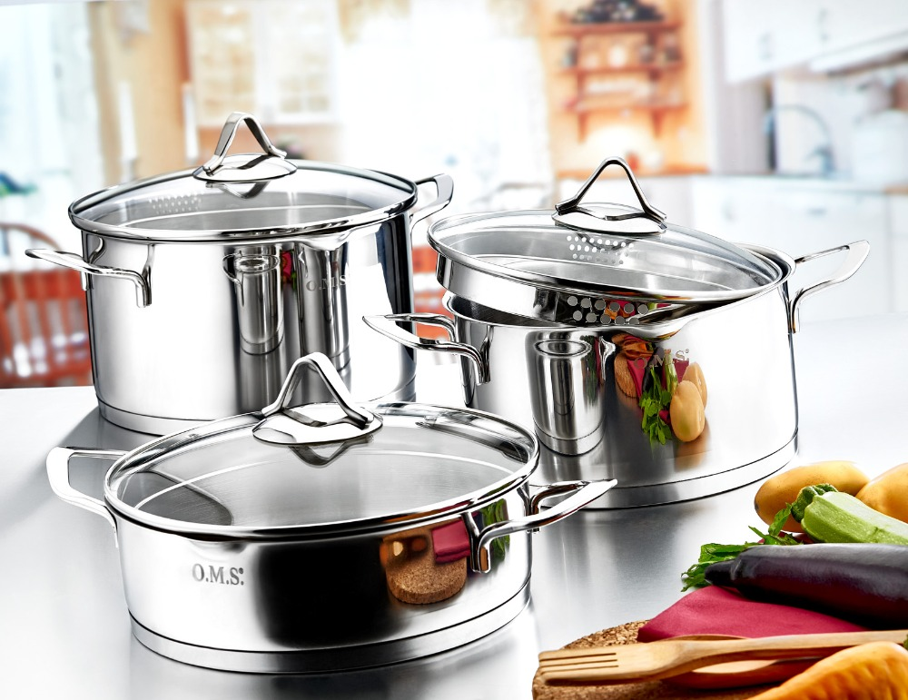 Code: 1057 'Cylinder Model Pouring Edge Body 10 Pieces Stainless Steel Cookware Set'