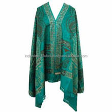 Handcrafted Green Shawl Embroidered Wool Blend Scarf Handmade Winter Wrap India SHW753