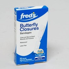 BANDAGES BUTTERFLY CLOSURES 20CT FREDS BOXED #11589