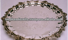 Brass Beautiful Round Charger Plate and Trays With Silver Finish For Home Decor