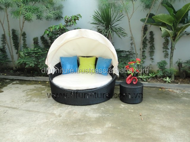 Best Selling 2015 Poly rattan sunbed bed /Vietnam poly rattan furniture #DL