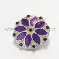 Environmental Polygon with Flower Zinc Alloy Enamel Snap Buttons, with Rhinestones, Platinum SNAP-M065-08-NR