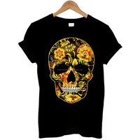 Flower Skull Candy Day Of The Dead Mexico Mens T Shirt/High quality Sublimation Tee/Branded t shirt wholesale