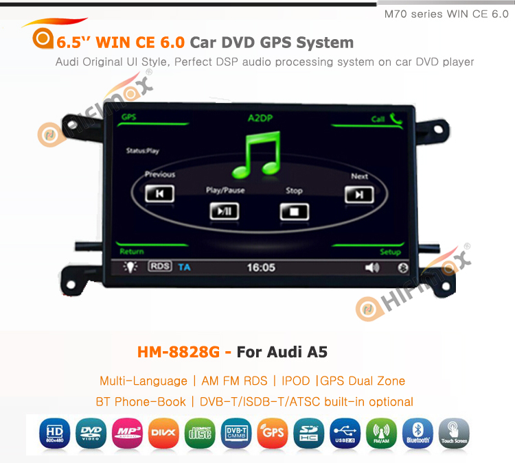 HIFIMAX 6.5'' Car DVD GPS For Audi A5 2009 Navigation System Bluetooth Phone-Book RDS IPOD USB HD1080P