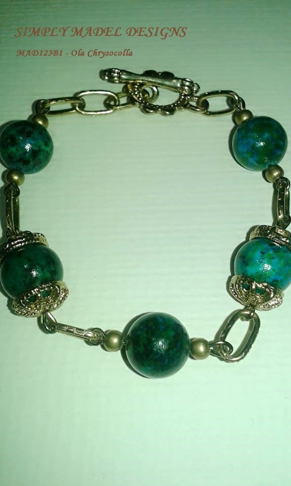 Vintage Bracelets of semi precious stones and ceramic beads