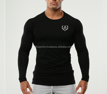 95% cotton 5% elastane Men Fitness Full Sleeve T Shirts/ Fitness T Shirt/ Gym T Shirt
