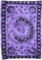 "Sun & Moon Tapestry Amethyst Violet Purple Tapestry Curtains Tapestry Wall Hangings Twin Small Size 54"" X 85"""
