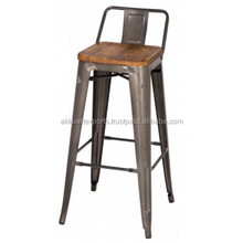 METAL BAR STOOL WITH BACK REST AND WOOD SEAT , VINTAGE BAR STOOL