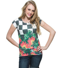 2015 Factory direct price wholesale Ploycotton Chess Board With Retro Flower Print T-shirt