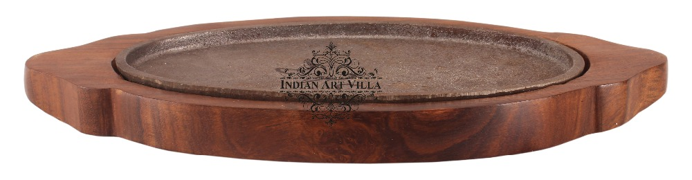 Indian Art Villa Oval Iron Sizzler With Wooden Base Sizzle/Grill Hotel Restaurant