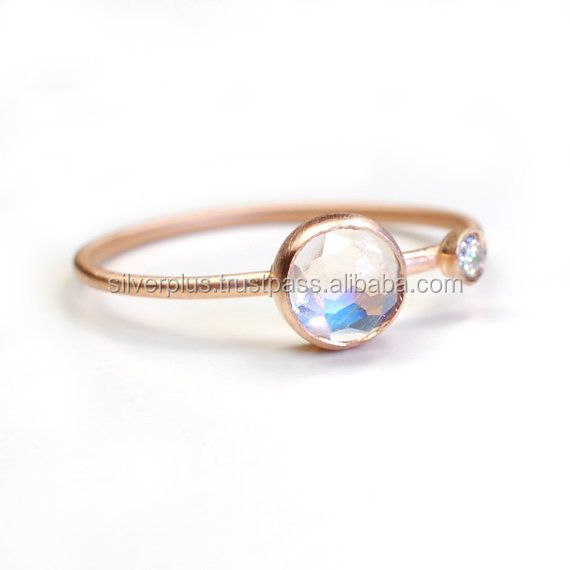 14kt Rose Gold Moonstone Diamond Ring Fine Engagement Jewelry