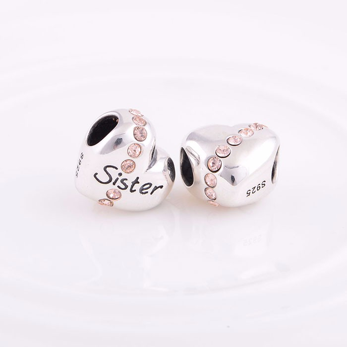 Top Sales Sister Silver Beads Heart Shaped Silver Alphabet Beads Wholesale