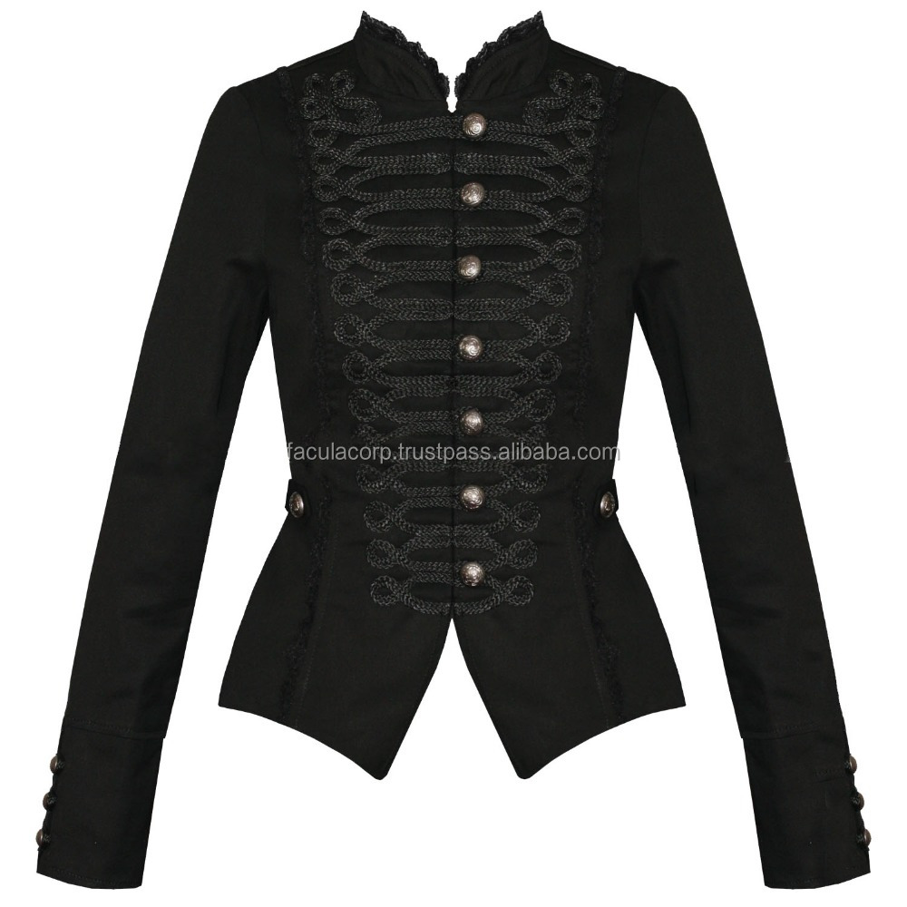 Womens Ladies New Black Gothic Steam Military Cotton Tailcoat Coat Jacket FC-2903