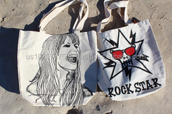 High Quality 100% Cotton Canvas tote bag with Logo Printing (Rockstar)