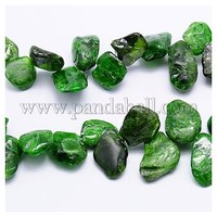 Natural Diopside Beads Strands, Chip, Green, 12~17x6~10x4~7mm, Hole: 1mm G-J106-03