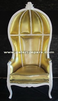 Antique French Furniture Canopy Chair - Gold Cushion White Finishing - Furniture Indonesia