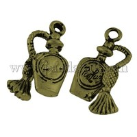 Tibetan Style Liquor Bottle Pendants, Antique Bronze, Lead Free; 20x10x4mm, Hole: 2mm