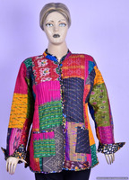 Hippie Patchwork Ethnic Women Jacket Multi color Reversible Floral Indian Jackets
