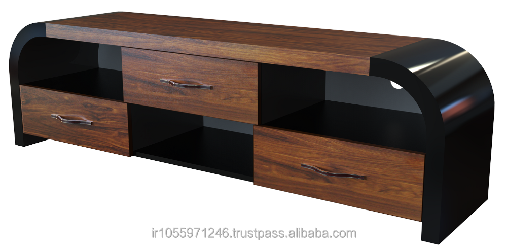 H163 LCD TV Stand , MDF , Luxury ,high-gloss, Bent HPL , Bracket ready , Tempered glass , cheap