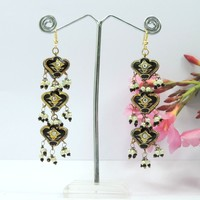 Wholesale Traditional Designer 3 Story Black Crysta Lakh Earrings