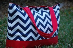 Stylish canvas chevron tote bag wholesale