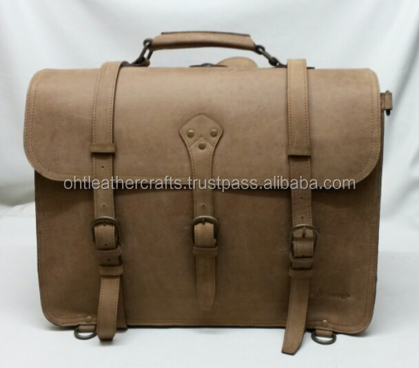 100% Genuine Crazy Horse Leather Men's Briefcase Laptop Bag Messenger