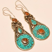 Turquoise with Coral Gemstone Tibetan Silver Jewelry