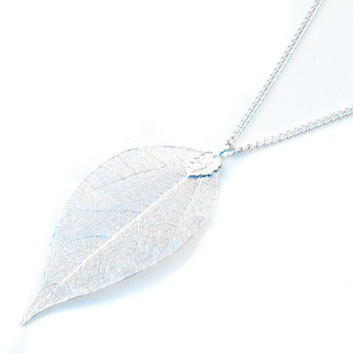 9 Colors Available Fashion Women Gold Natural Real Leaf Pendant Necklace