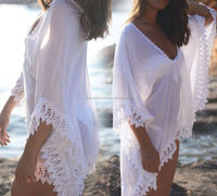 Sexy Women Swimwear Beach Wear Cotton Kaftan Beach Wear Bikini Cover Up Girls Ladies Short Dress Sexy top