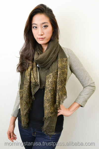 Luxe Gold-Foil Panel Oblong Scarf