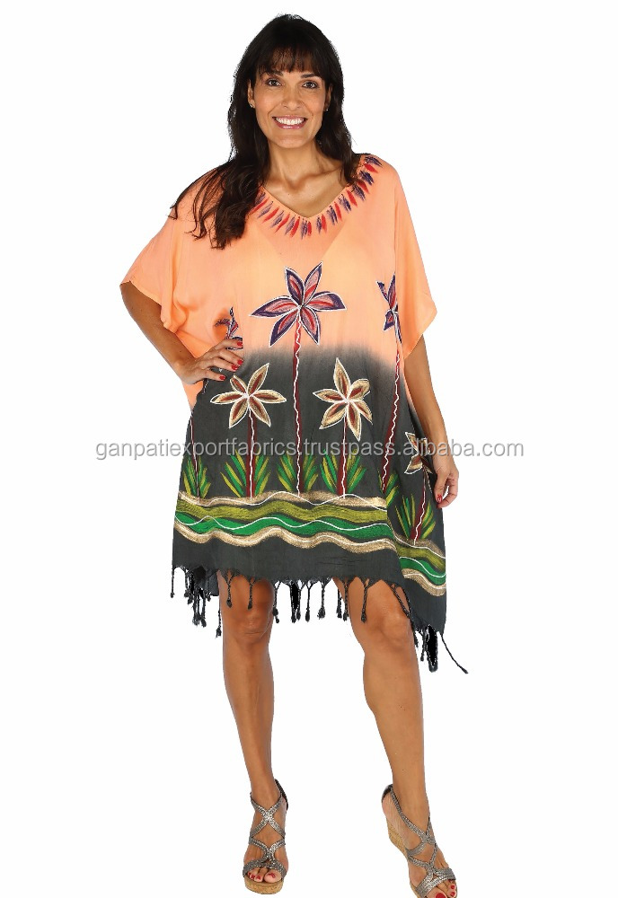 2016 Hot Summer's Women Beachwear Tie & Dye Hand Brush Painted Kaftan