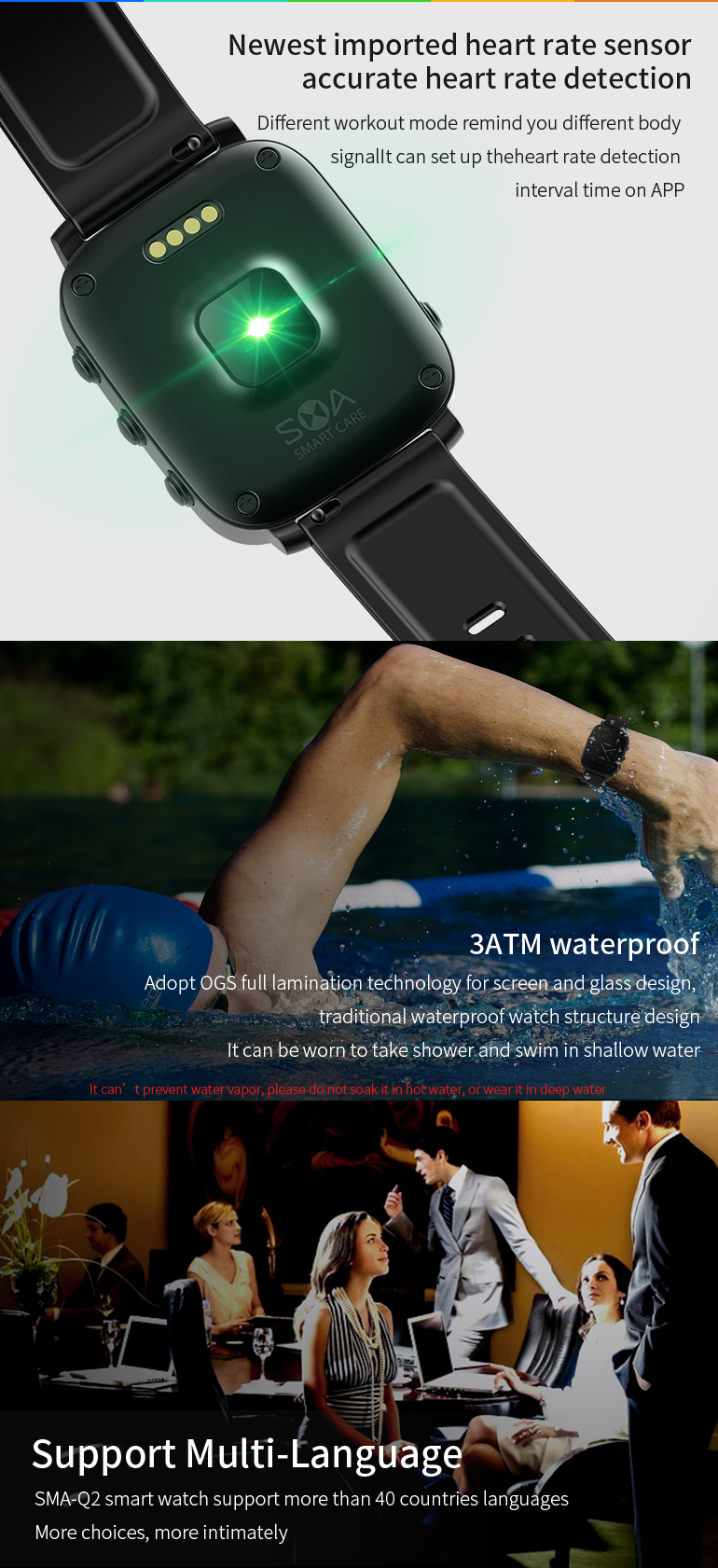 SMA Q2 Smart Bluetooth Sport Watch Android Sport Fitness Tracker Waterproof Touch Screen Smart Bracelet