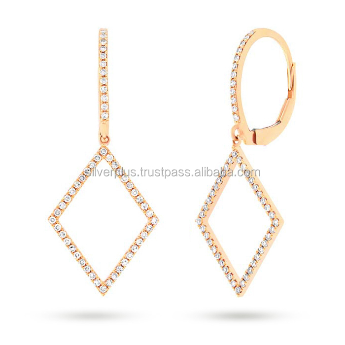 Solid 18k Gold Pave Diamond Rhombus Shaped Huggie Dangle Earrings