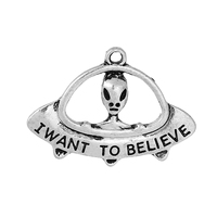 "Charm Pendants Extra-terrestrial Antique Silver Message Pattern "" I WANT TO BELIEVE "" 29.0mm(1 1/8"") x 21.0mm( 7/8""), 10 PCs"