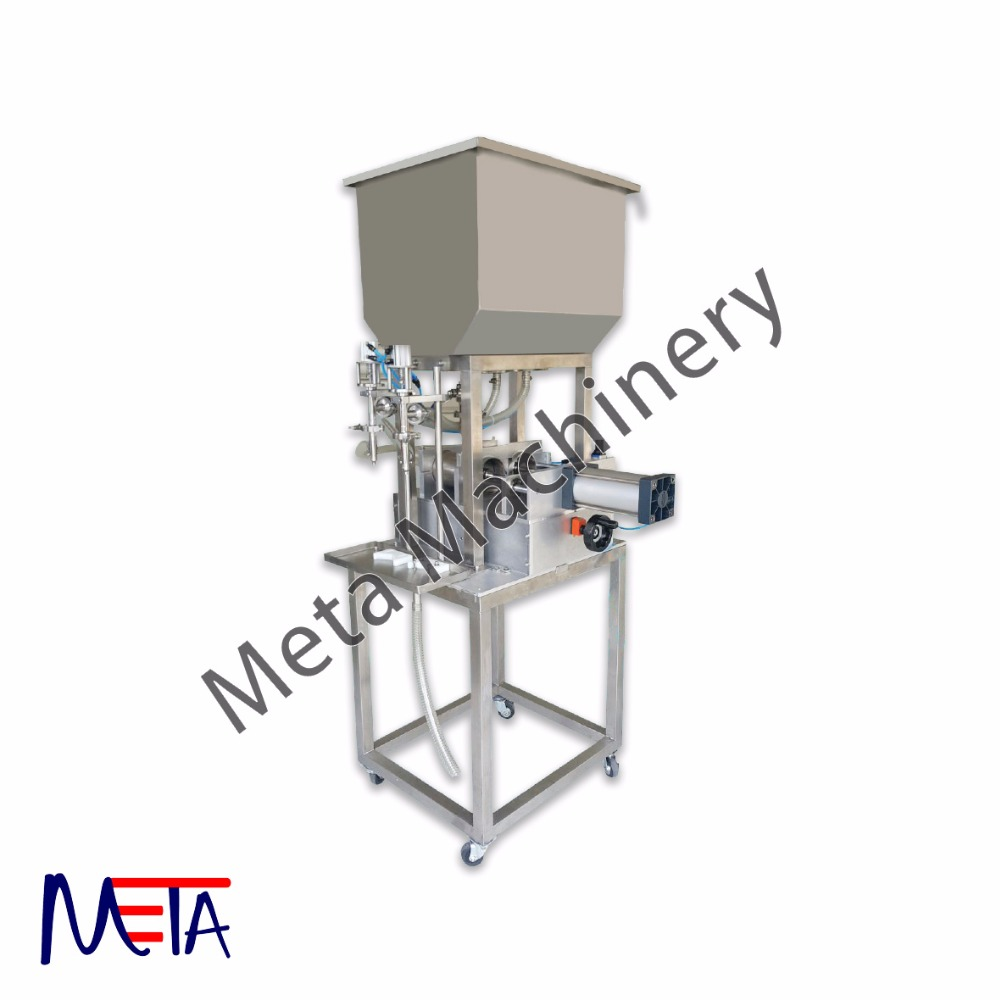 Semi Auto Liquid Cream Filling Machine with tank and wheel