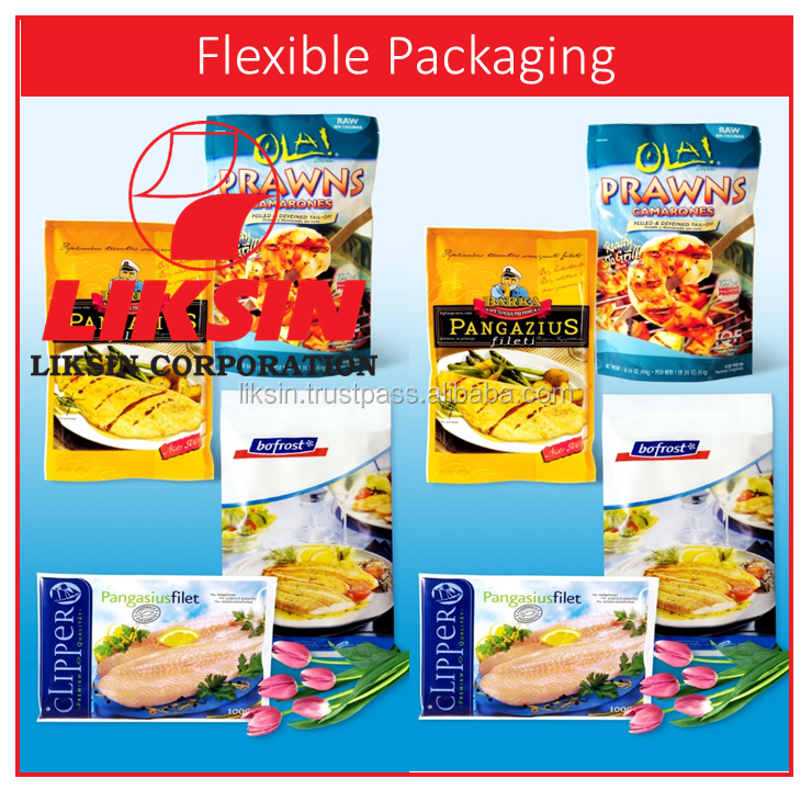 Top quality zipper top multilayers plastic bag packaging for frozen fresh seafood